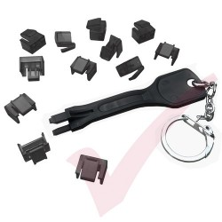 Patchsave Budget RJ45 Port Blocker (Black) 12 Pack with Universal Removal Key