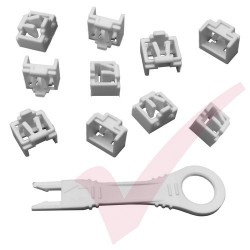 RJ45 Lockdown Jack Blockout Device 10 Pack in White with Key - RJ45JLP-10X
