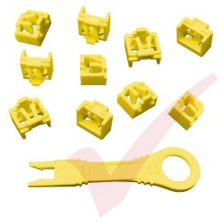 RJ45 Lockdown Jack Blockout Device 10 Pack in Yellow with Key - RJ45JLP-10X