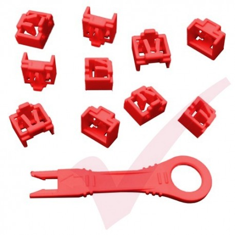 RJ45 Lockdown Jack Blockout Device 10 Pack in Red with Key - RJ45JLP-10X