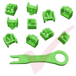 RJ45 Lockdown Jack Blockout Device 10 Pack in Green with Key - RJ45JLP-10X