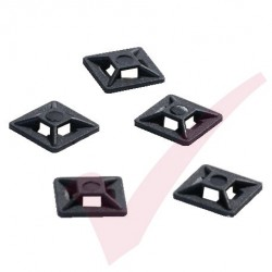 Black Adhesive Cable Tie Base - 100 Pack