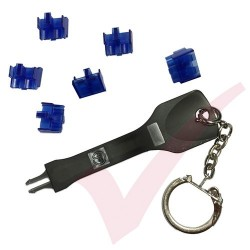 Patchsave LC Duplex Fibre Security Boot Clip (Blue) 6 Pack with Universal Removal Key