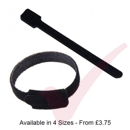 Black Hook & Loop Velcro Cable Ties 10 Pack