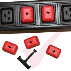 5 Pack - C19 Power PDU Shield Outlet cover in Red with Removal Tool