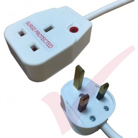 2.0 Metre White to 1 Way Socket Gang Block Surge and Spike Protected Extension Lead