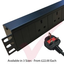 Horizontal UK Socket to UK 13A Plug with 3 Metre Trailing Cable 1.5U Rack PDU