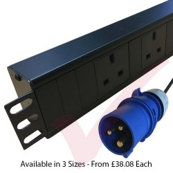 Horizontal UK Socket to 16 Amp Plug with 3 Metre Trailing Cable 1.5U Rack PDU