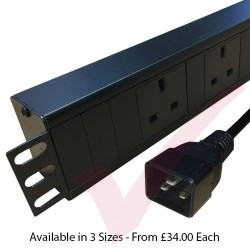 Horizontal UK Socket to C20 Plug with 3 Metre Trailing Cable 1.5U Rack PDU