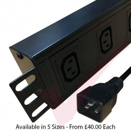 Horizontal C13 Socket to C20 Plug with 3 Metre Trailing Cable 1.5U Rack PDU