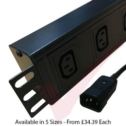 Horizontal C13 Socket to C14 Plug with 3 Metre Trailing Cable 1.5U Rack PDU