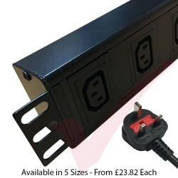 Horizontal C13 Socket to UK 13A Plug with 3 Metre Trailing Cable 1.5U Rack PDU