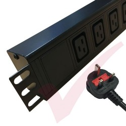 6 Way IEC (C19) Socket Horizontal PDU with UK Plug
