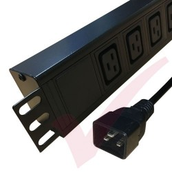 6 Way IEC (C19) Socket Horizontal PDU with IEC (C20) Plug