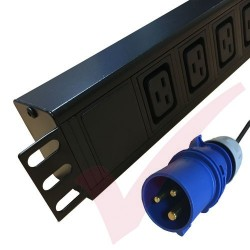 6 Way IEC (C19) Socket Horizontal PDU with 16 Amp Commando Plug