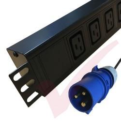 6 Way IEC (C19) Socket Horizontal PDU with 16 Amp Commando Plug