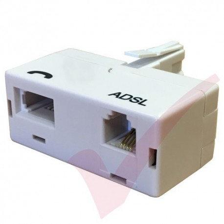 ADSL Microfilter (T Shaped Adapter Type) BT Plug to BT & RJ11 Sockets White