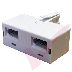 BT Double Adapter - BT Plug to 2x BT Sockets White
