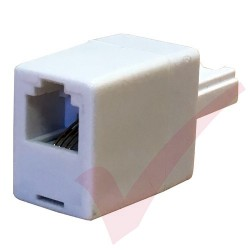 BT Male Plug - RJ11 Female 4 Wire Straight Through Socket Phone Adapter White