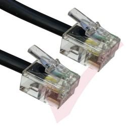 Black RJ11 - RJ11 ADSL Modem Cable 6P4C
