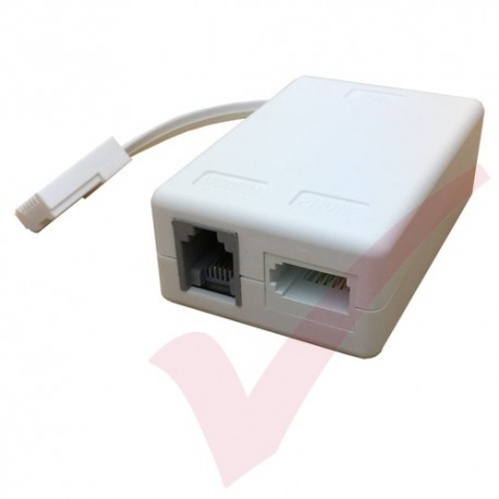 ADSL Microfilter (Leaded 0.1Mtr Passive) BT Plug to BT & RJ11 Sockets White