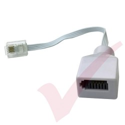 RJ11 Plug to BT Socket Adapter Leaded White