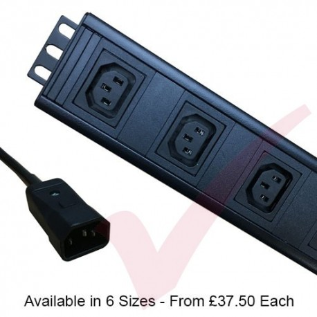 Vertical C13 Socket to C14 Plug with 3 Metre Trailing Cable Rack PDU