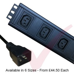 Vertical C13 Socket to C20 Plug with 3 Metre Trailing Cable Rack PDU