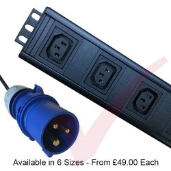 Vertical C13 Socket to 16 Amp Plug with 3 Metre Trailing Cable Rack PDU