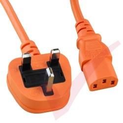 2.5 Metre Orange - UK Mains Plug (5 Amp) - C13 High Grade 1mmSq PVC Power Cable
