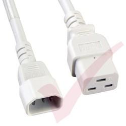 2.4 Metre (8ft) White - C14-C19 IEC 60320 Male (C14 Plug) - IEC Female (C19 Connector) 15A SJT Power Extension Cable