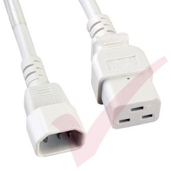 2.4 Metre (8ft) White - C14-C19 IEC 60320 Male (C14 Plug) - IEC Female (C19 Connector) 15A SJT Power Extension Cable