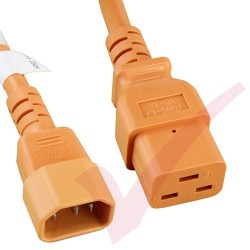 2.4 Metre (8ft) Orange - C14-C19 IEC 60320 Male (C14 Plug) - IEC Female (C19 Connector) 15A SJT Power Extension Cable
