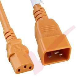 2.4 Metre (8ft) Orange - C20-C13 IEC 60320 Male (C20 Plug) - IEC Female (C13 Connector) 15A SJT Power Extension Cable
