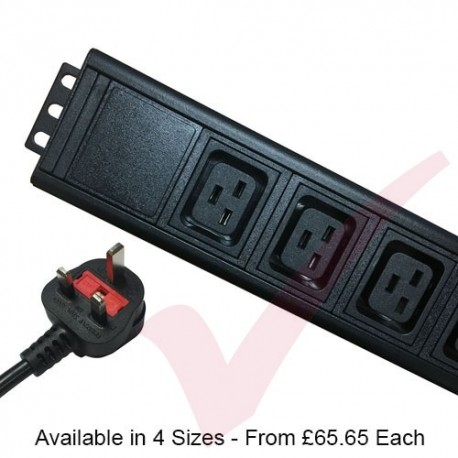 Vertical IEC (C19) Socket to UK 13A Plug with 3 Metre Trailing Cable