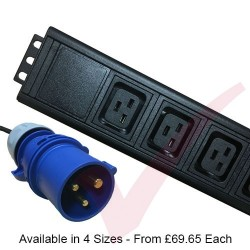 Vertical IEC (C19) Socket PDU with 16 Amp Commando Plug