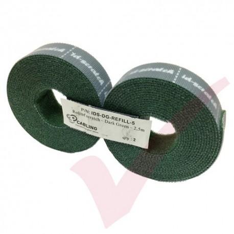 5.0 Metre Dark Green 3P ID Scratch Refill 2x 2.5m Hook & Loop - IDS-DG-REFILL-5