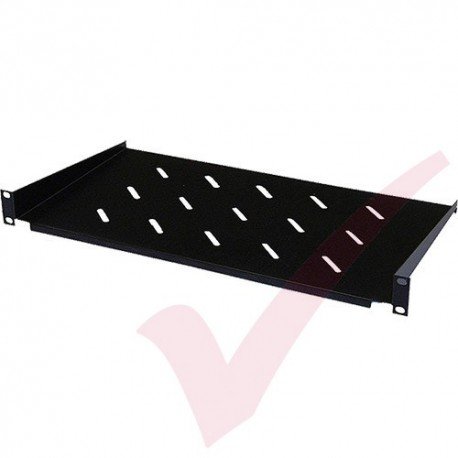 Cantilever Vented Shelf 1u 300mm Black for 450mm Wall Mount Cabinets