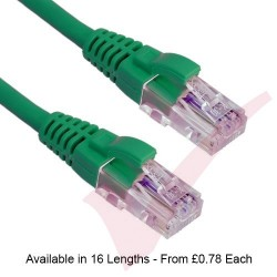Green - Excel Cat5e UTP RJ45 24AWG LSZH Gigabit Snagless Booted Patch Leads