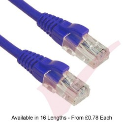 Blue - Excel Cat5e UTP RJ45 24AWG LS0H Gigabit Snagless Booted Patch Leads