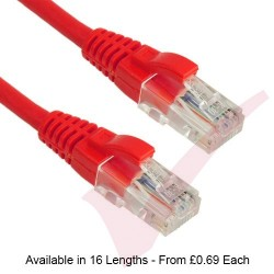 Excel Cat5e Patch Cables RJ45 UTP LSZH Snagless Booted Red