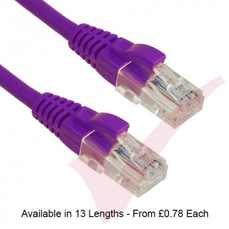 Purple - Excel Cat5e UTP RJ45 24AWG LSZH Gigabit Snagless Booted Patch Leads