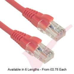 Pink - Excel Cat5e UTP RJ45 24AWG LSZH Gigabit Snagless Booted Patch Leads