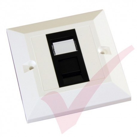 Excel Cat5e Single Faceplate with 1x RJ45 Black Module