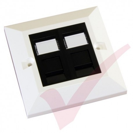 Excel Cat5e Single Faceplate with 2x RJ45 Black Modules