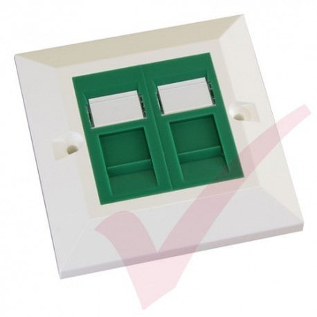 Excel Cat5e Single Faceplate with 2x RJ45 Modules Green