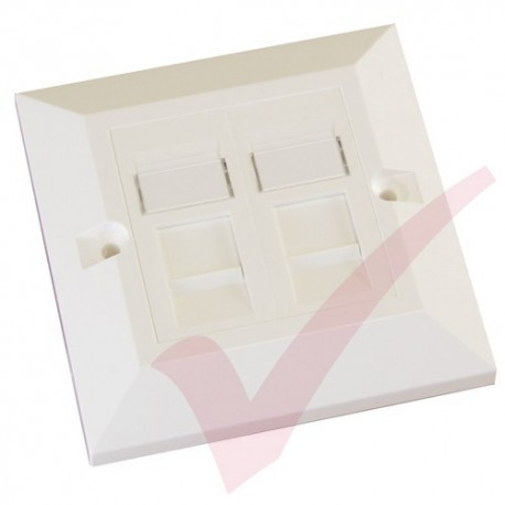 Excel Cat6 Single Faceplate with 2x RJ45 White Module