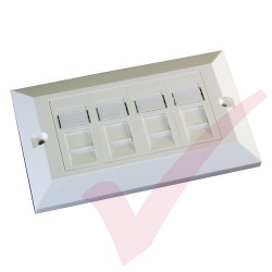 Excel Cat5e Single Faceplate with 4x RJ45 Modules White