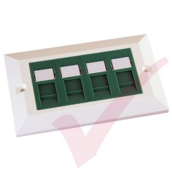 Excel Cat5e Double Faceplate with 4x RJ45 Modules Green