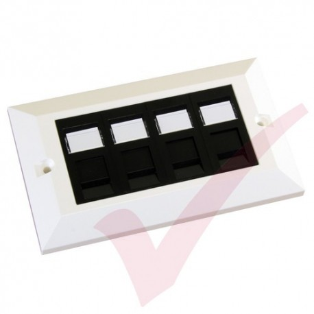 Excel Cat5e Double Faceplate with 4x RJ45 Modules Black